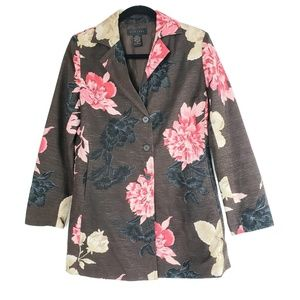 Silk Land Jacket Brown Evening Sequin Floral Small
